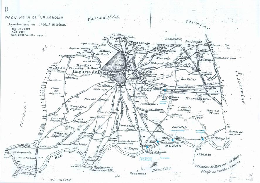 Terminos de Laguna de Duero con fuentes y manantiales